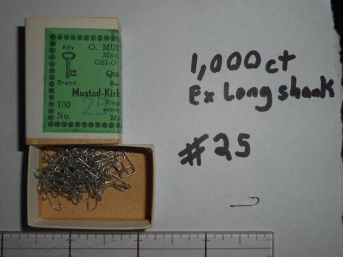 MUSTAD SIZE 25 KIRBY SEA HOOKS MAKE FLYS RIGS 1,000 CT EXTRA LONG SHANK TINNED Angelsport-Köder, -Futtermittel & -Fliegen