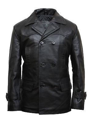Men's KRIEGSMARINE German Submarine WW2 UBoat Genuine Leather Jacket Pea Coat