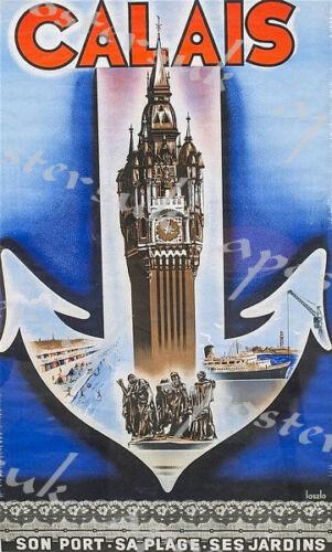 Vintage French Calais Tourism Poster A3//A4 Print