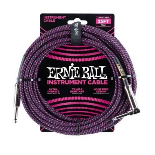 Ernie Ball 25/' Braided Instrument Cable Black /& Purple P06068