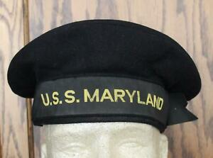 WW II USN USS MARYLAND BATTLESHIP ROW CAP VINTAGE ORIGINAL NO HOLES
