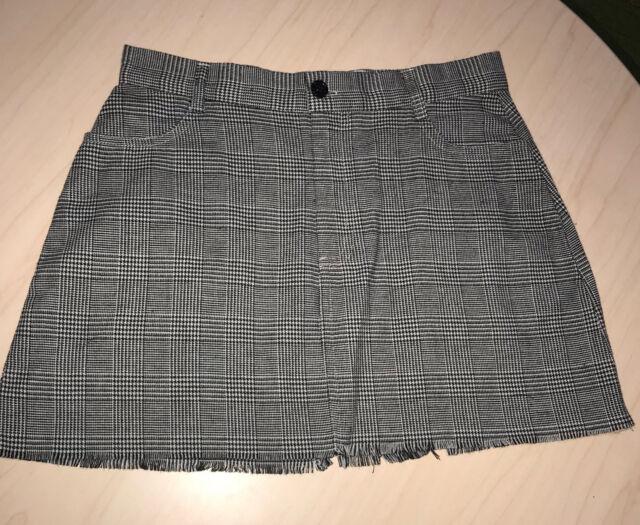 0830ed484 Brandy Melville White/Black Checker Plaid Raw Hem Cut Juliette Skirt NWOT  Sz S