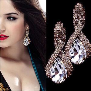 1-Par-De-mujer-De-lujo-Elegante-Diamante-imitacion-Grande-Pendientes-Largos