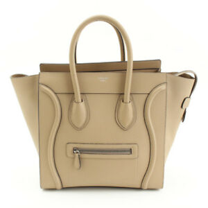 a6157bd117bc New Celine Mini Luggage Tote Drummed Tan Calfskin Leather Bag 165213 ...
