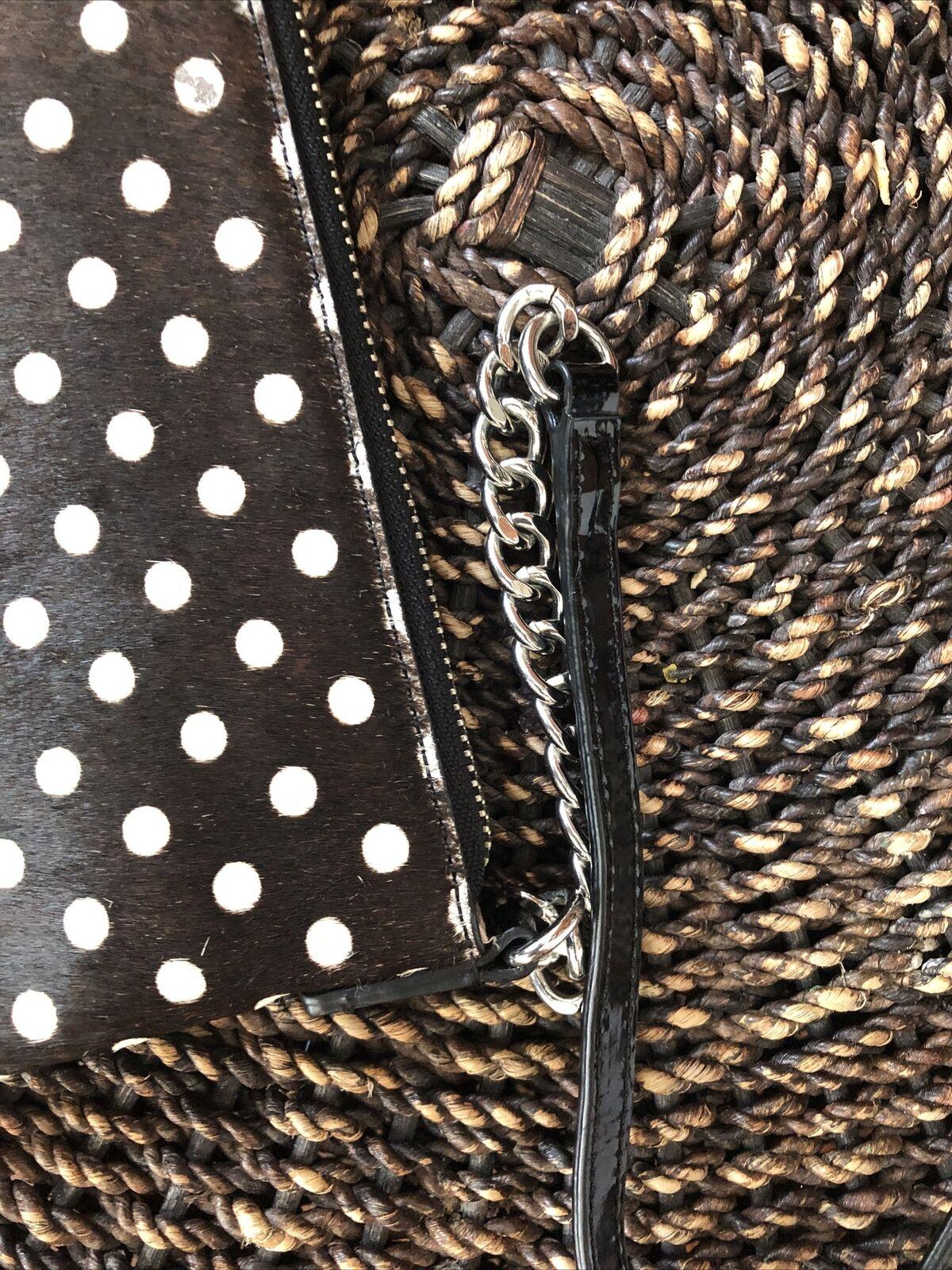 Talbots Brown White Calf Hair PolkaDot Crossbody Patent Leather Chain Strap CN98