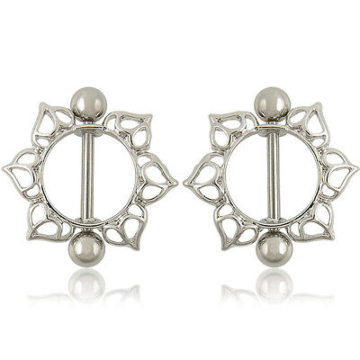 New 1 Pair Sun Flower Body Nipple Bar Barbell Piercing Ring Special Jewelry