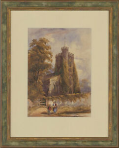 Original-Late-19th-Century-Watercolour-Sunday-Church-Scene