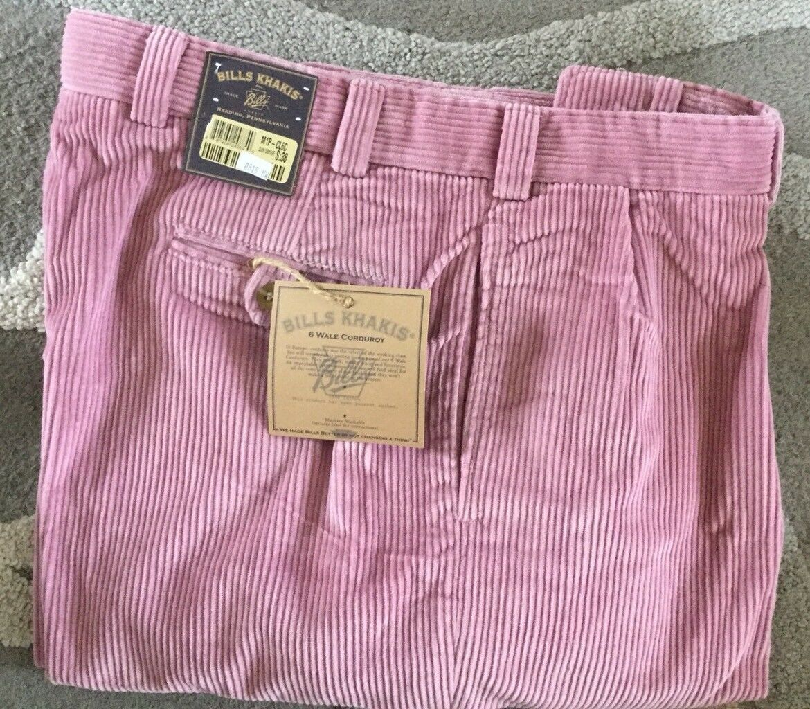 NWT-Bills khakis M1P-CL6C Size 32 PLEATED FRONT 6 WALE CORDUROY Pink