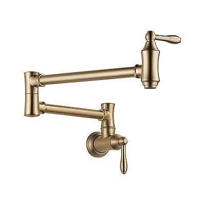Delta Faucet 1177LF-CZ Champagne Bronze Pot Filler Wall Mount Faucet
