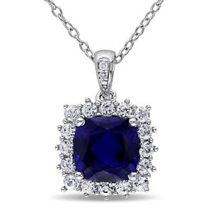 Haylee Jewels Sterling Silver Created Sapphire Diamond Halo Necklace