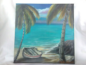 Original-Acrylic-Painting-12-x12-Stretched-Canvas-Boat-Beach-Coastal-Art