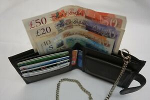 Gents-Soft-Leather-Wallet-with-Security-Chain-RFID-Proof-Black