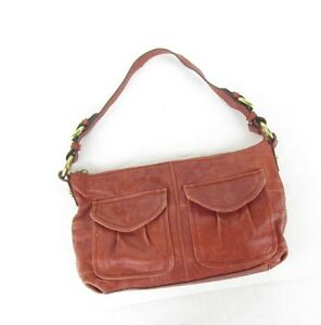 ad0ae51243a3 Image is loading Fossil-Orange-Red-Leather-Shoulder-Bag-Long-Live-