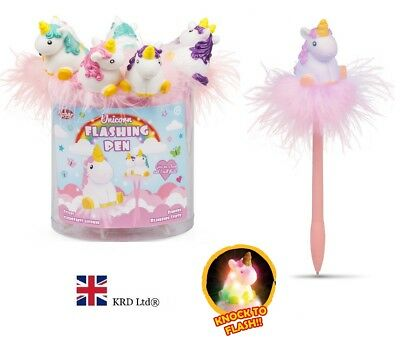Fluffy Feather UNICORN FLASHING PEN Lights Up LED Kids Stationery Birthday Gift