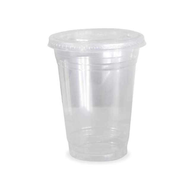 1000 x 12oz Clear Plastic Smoothie Cups + Flat  Slot Lids Milkshake Cold Drinks