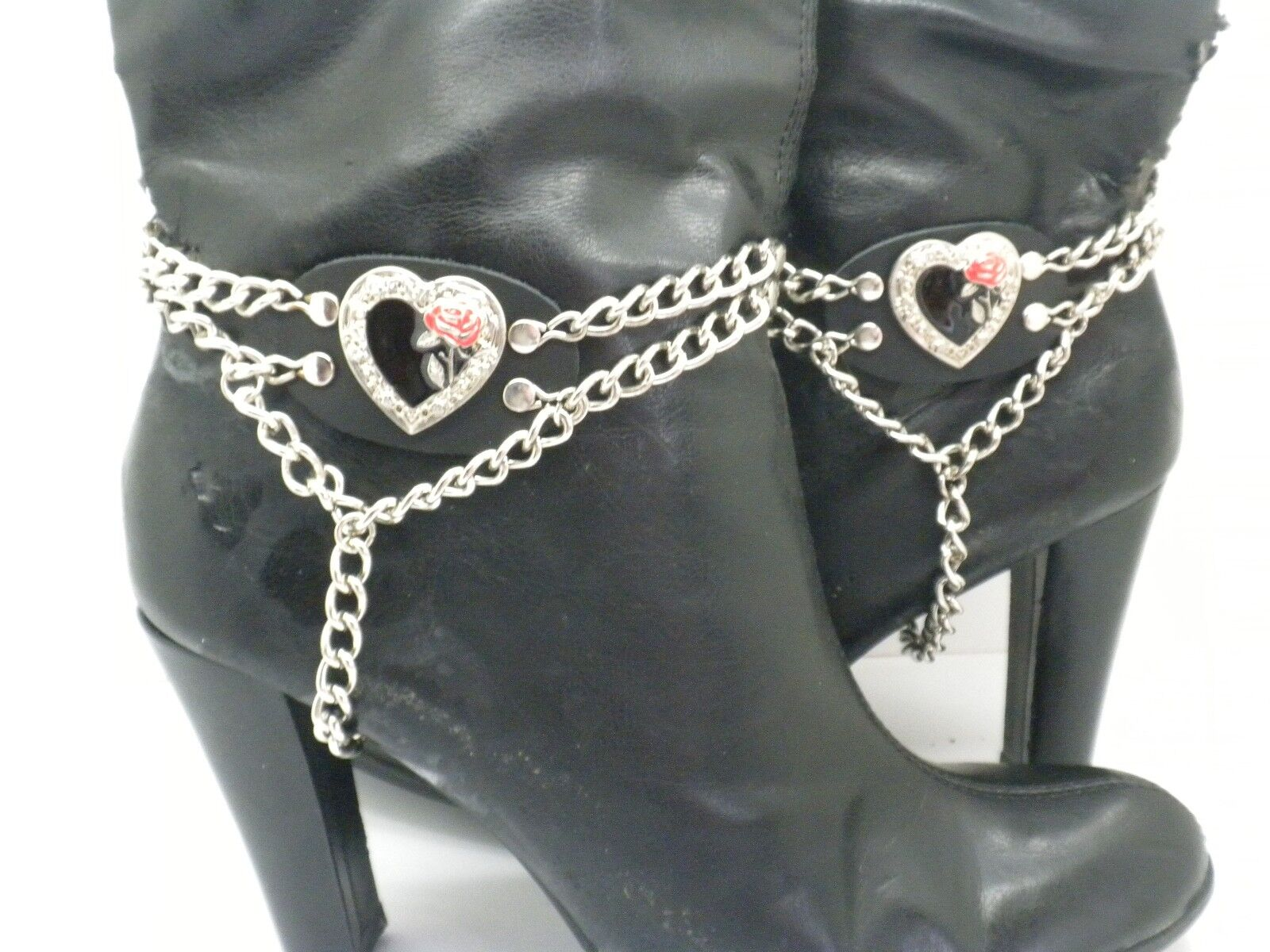 Boot Straps Red Rose Black Leather Biker Western Chain Buckle Women's New PAIR