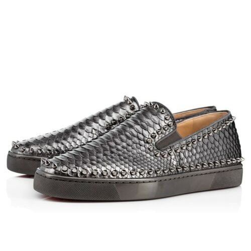 Christian Eu Spike Pik Shoes auténtico Python Boat 100 9 Gris Louboutin Men 42 New us AxzPYwYtq