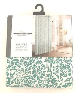 Threshold Shower Curtain Green Botanical Floral White 100/% Cotton 72 in X 72 in