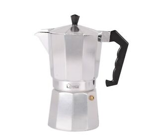 Details About Silver Aluminium Italian Style Stove Cafetiere Black Coffee Pot Maker 9 Cups