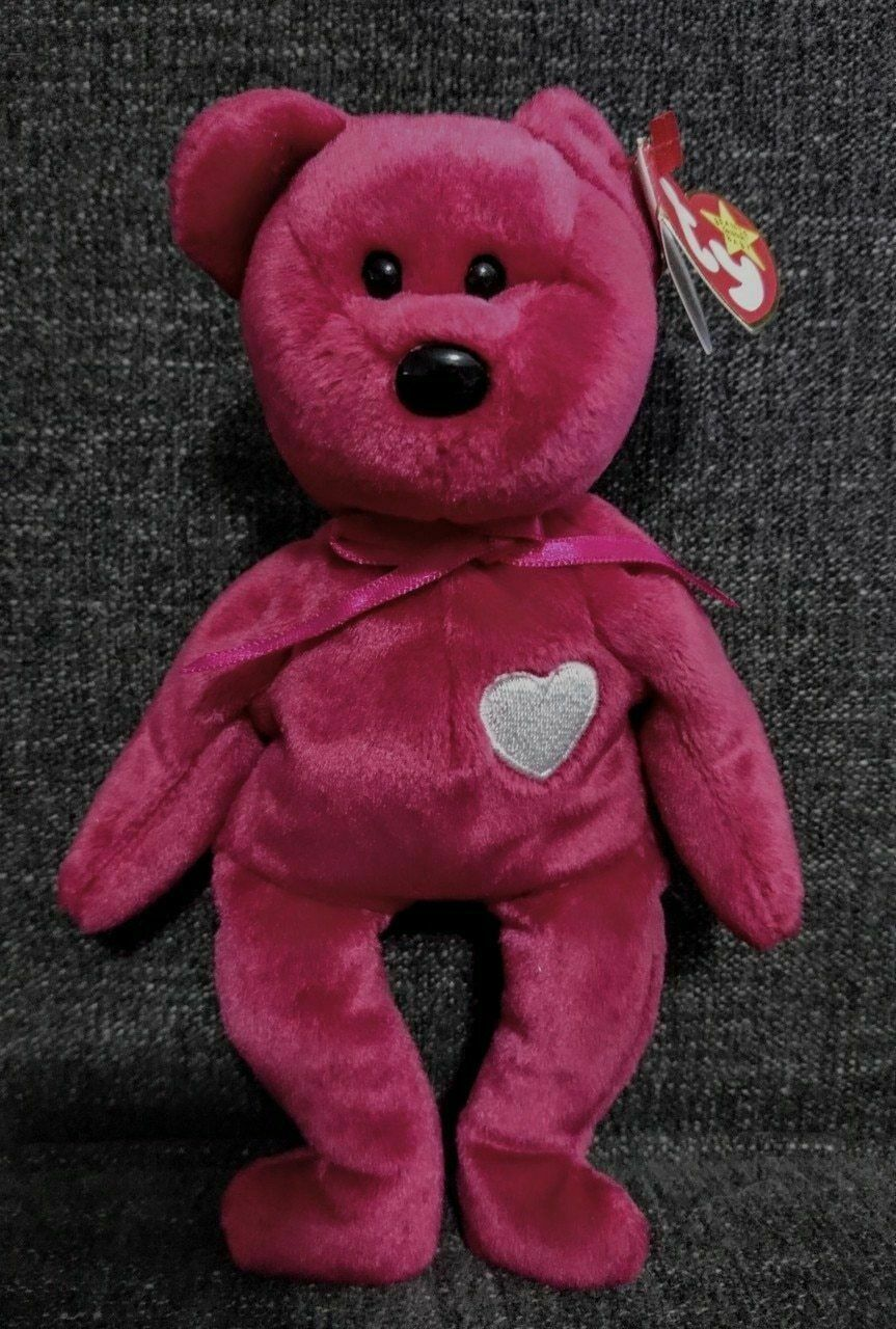 TY - Beanie Babies - Valentina - Bear - Magenta color - Tag Errors - Pre-Owned