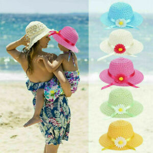 Lovely-Beach-Hats-Bag-Flower-Handbag-Suit-Summer-Sun-Hat-Girls-Kids-Straw-Cap