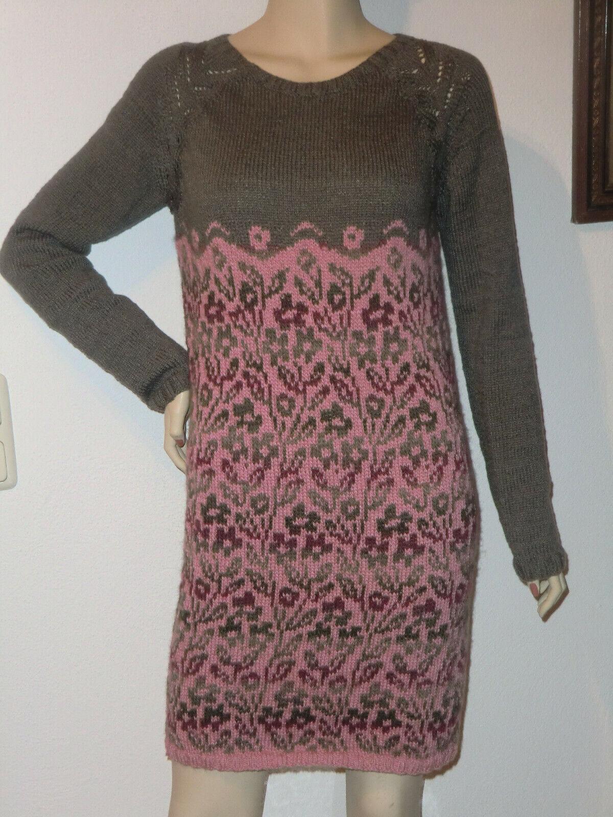 Damenkleid Gr 38 40  Schurwolle Seide Cashmere grau geblümt