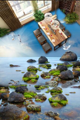 3D Sky Birds Stones 5 Floor WallPaper Murals Wall Print 5D AJ WALLPAPER UK Lemon