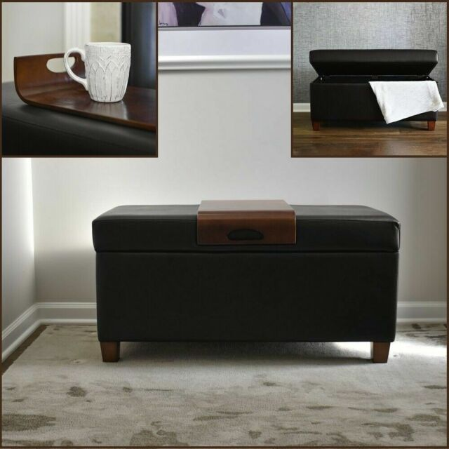 Safavieh Hudson Collection Chloe Leather Single Tray Round Storage Ottoman For Sale Online Ebay