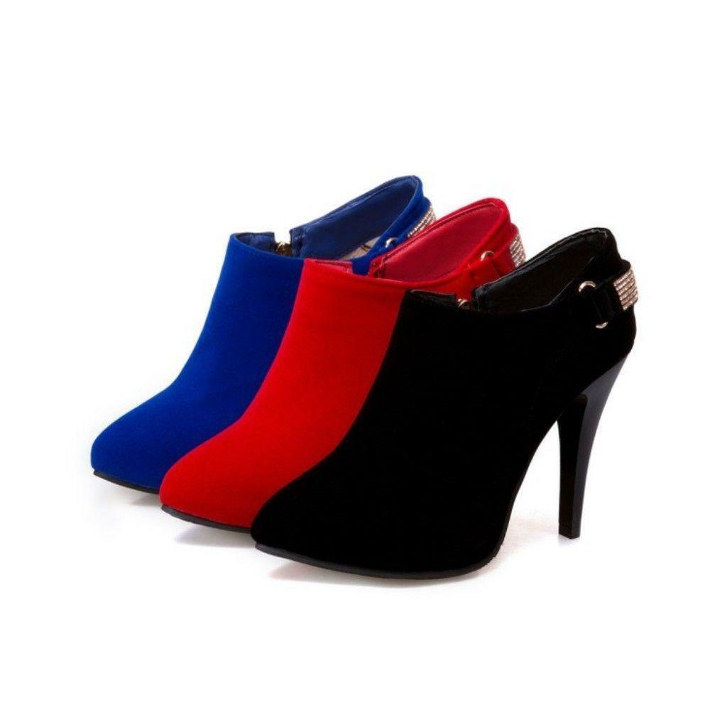 Womens lady Pointed Toe Zip Dress Stilettos High Heels Party Ankle Boots Booties