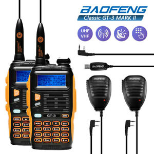 2x-Baofeng-GT-3-MarkII-Dual-Band-Two-way-Radio-Ham-Transceiver-PTT-Mic-Cable