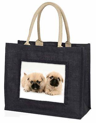 pugzu Hund große schwarze Einkaufstasche Weihnachten Geschenkidee, ad-p89blb