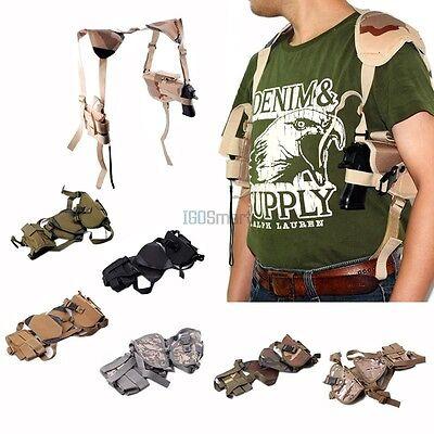 Tactical Horizontal Pistol Hand Gun Shoulder Holster + Double Magazine Mag Pouch