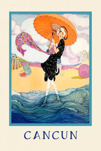 Cancun Fashion Lady Umbrella Beach Cancun Mexico Vintage Poster Repro FREE S//H