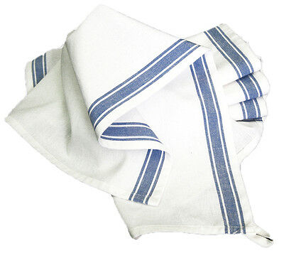 Set of 7 Aunt Martha Vintage Style Blue Stripe Flour Sack Towels for Embroidery