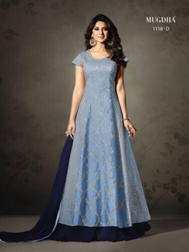 Kurti noisetier Stiched lilas pakistanais tunique rose bois bleu Georjette broderie de Femmes Semi indien designer pqpU7