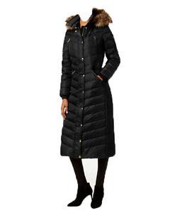 Nwt Michael Kors Women S Faux Fur Trim Long Maxi Puffer