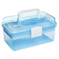 10 Clear Light Blue Plastic Multipurpose Portable Handled Organizer Storage Box on sale