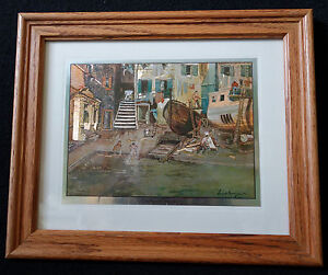 Set of 4 Framed Etchings Lionel Barrymore Silver Etchings Signed by The Artist