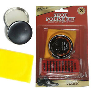 3Pack-Black-Shoe-Polish-Kit-Shining-Brush-Cloth-Boot-Leather-Cleaning-Care-Set