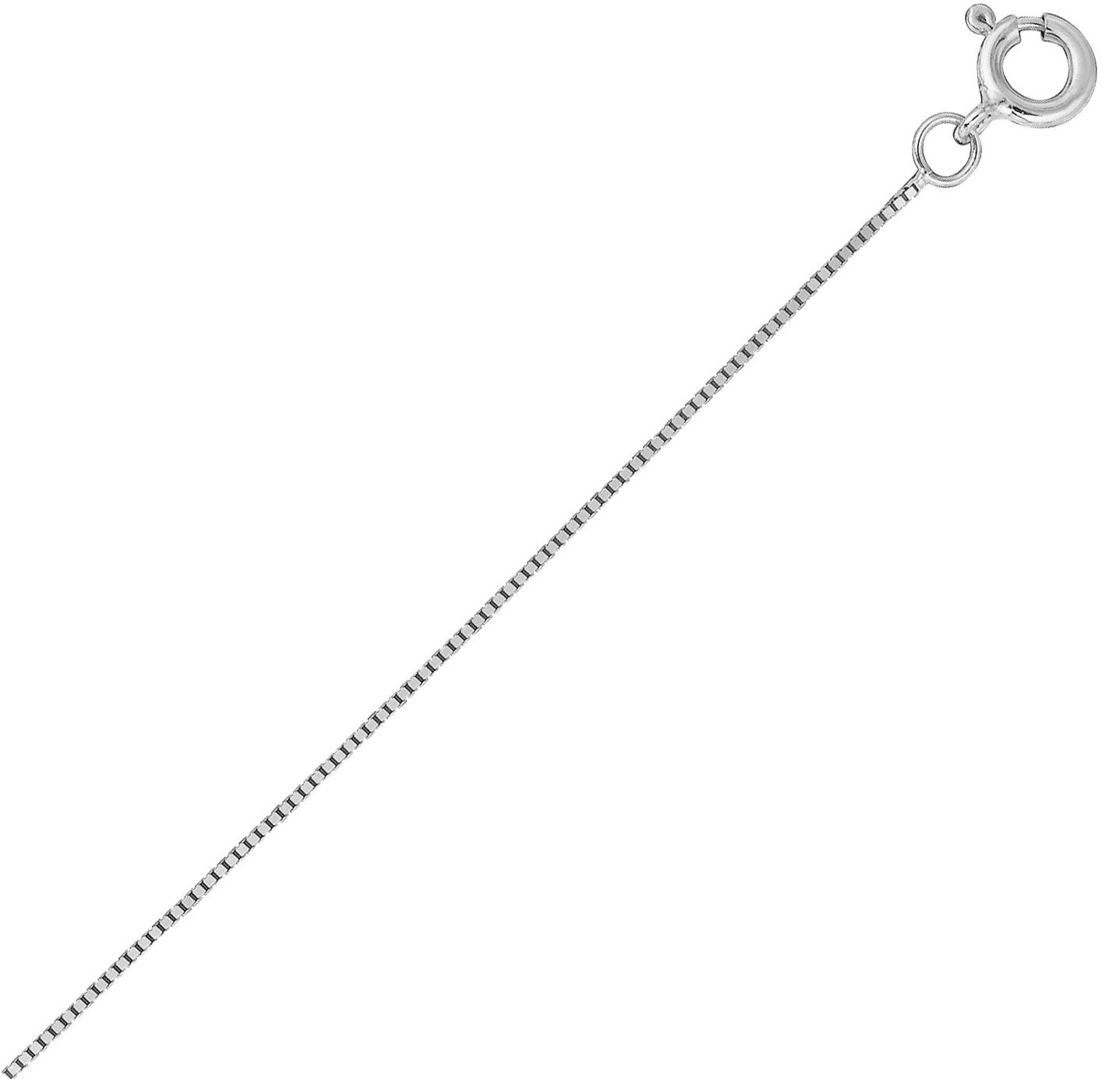 10K Solid White gold Box Chain 0.45 mm 16 ,18 , 20