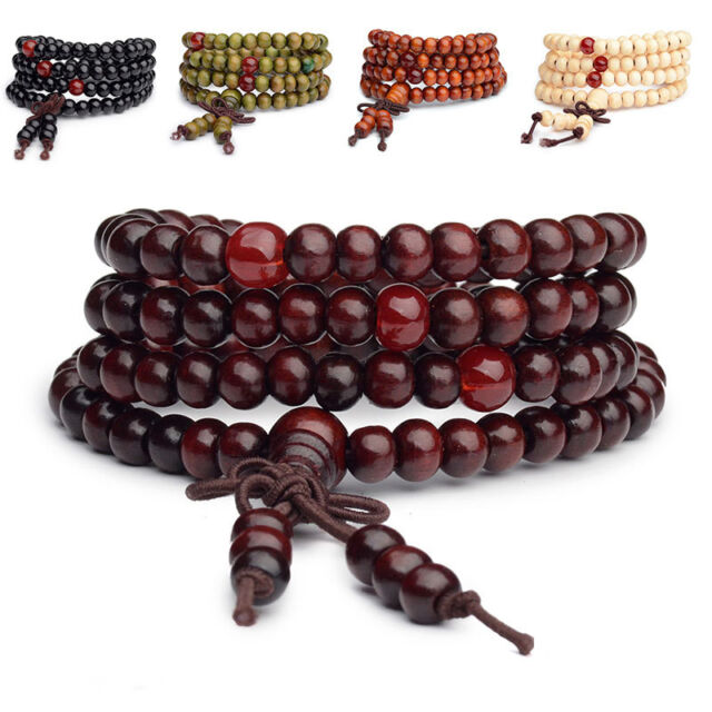 Sandalwood Bead Mala Buddhist Buddha Meditation 108 Prayer Bracelet Necklace 6mm