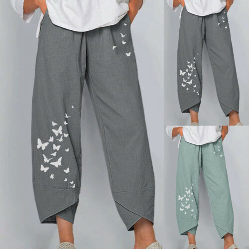 Damen Sommer lose Hosen einfarbige vertikale Blume kausale lose Hosen