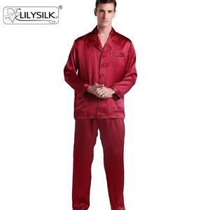 8d38cb0abe Men Long Silk Pajamas Set Contrast Trim 22 Momme 100% Mulberry Silk ...