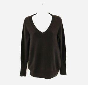 J Crew Womens 100 Cashmere V Neck Sweater Dark Brown Size M C379