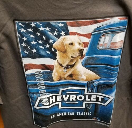New CHEVY AMERICAN CLASSIC FLAG  T SHIRT POWERED BY CHEVROLET