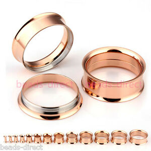 Pair-Gauges-Rose-Gold-Steel-Screw-Ear-Tunnel-Flesh-Plugs-Stretcher-Piercing-Punk