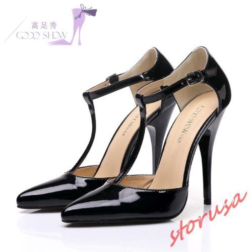 T punta mujer la de Sandalias en Stilettos en de Para Tacones charol Tamaño correa altos Zapatos qafwHp