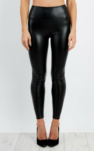 Black Wet Look PU High Waisted Stretch Faux Leather look Skinny Leggings Trouser