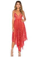 FOR LOVE & LEMONS Cherry Red Floral Lace Bodysuit Rosemary Asymmetric Dress S 4