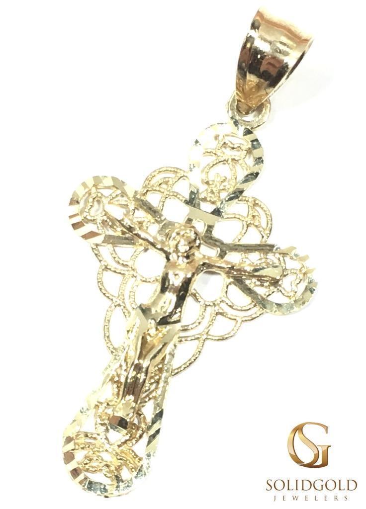 NEW 10K YELLOW gold 32 MM LONG JESUS CRUCIFIX CROSS HIP HOP PENDANT 6138